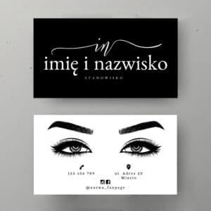 wizytówka w kolorze czarno-biały z rysunkiem oczu