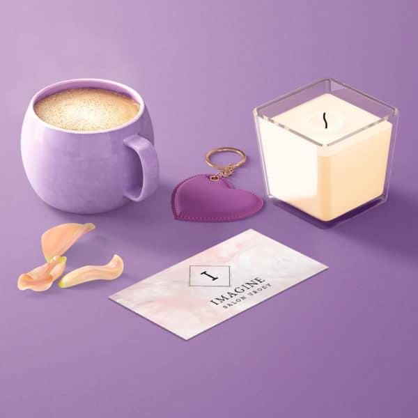 pastelowa wizytówka dla salonu urody