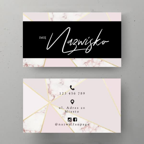 pastelowo różowa wizytówka z marmurkiem