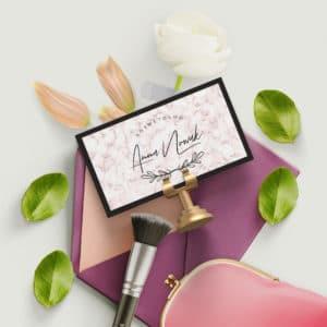 wizytówka różowy marmur dla kosmetologa