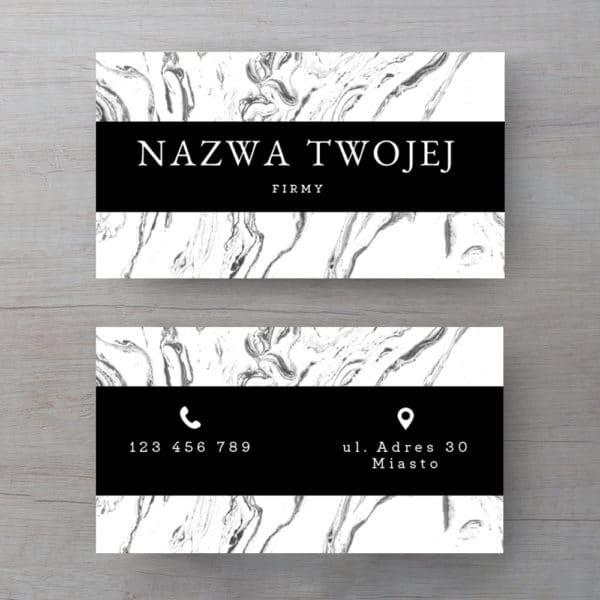 czarno-białe wizytówki z marmurem