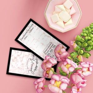 rózowy terminarzyk do salonu kosmetycznego z marmurkiem