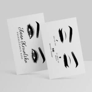 piękna wizytówka z oczami dla stylistki rzęs