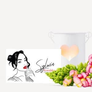 wizytówka dla stylistki paznokci z rysunkiem dziewczyny