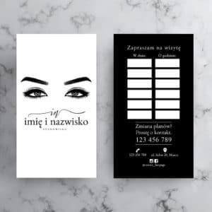 czarno-biały terminarzyk z rysunkiem oczu