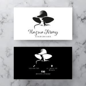 wizytówka salonu kosmetycznego z kobietą w kapeluszu