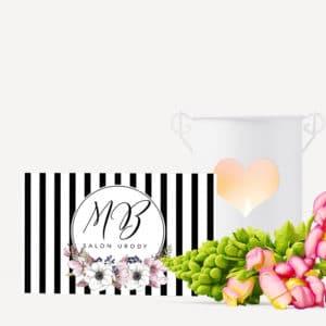 wizytówka w paski i kwiaty do salonu urody
