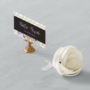 wizytówka dla podologa w fioletowe kwiaty