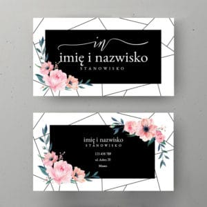 wizytówka w różowe kwiaty
