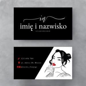 czarno-biała wizytówką z kobietą w czerwonych ustach
