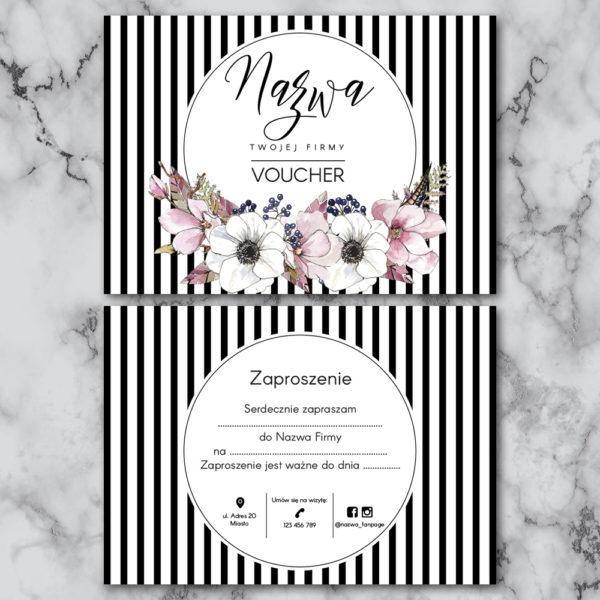 voucher prezentowy do salonu kosmetycznego w czarno-białe paski
