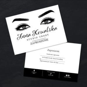 czarno-biały bon prezentowy do salonu kosmetycznego