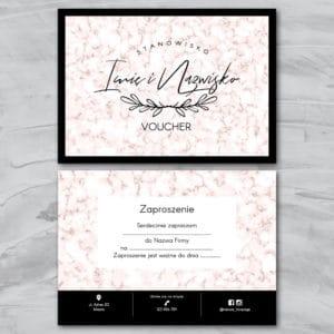 różowy marmur bon podarunkowy do salonu kosmetycznego