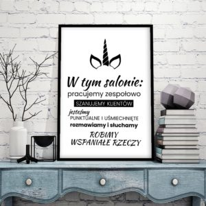 Plakat Zasady W Salonie