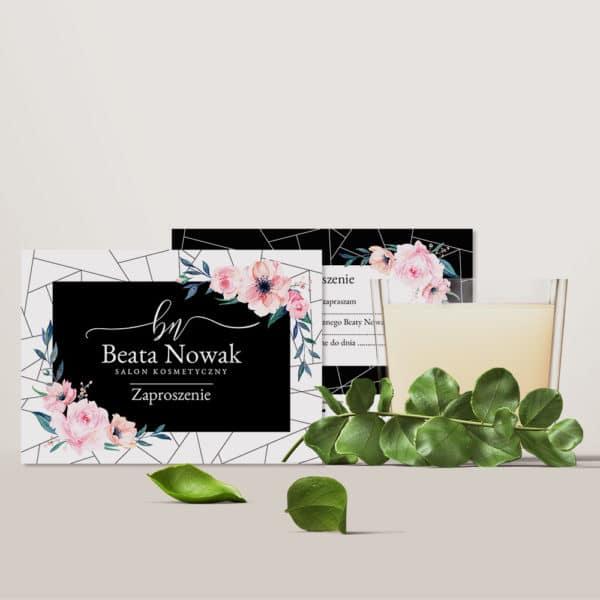 bon podarunkowy do salonu kosmetycznego w różowe kwiatki