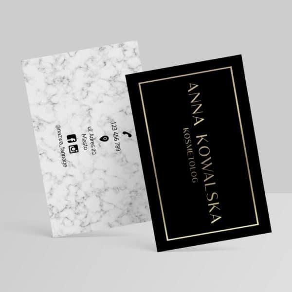 biały marmur złote logo wizytówka dla kosmetologa