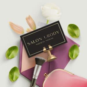 elegancka wizytówka złoty napis do salonu kosmetycznego
