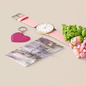 fioletowa wizytówka smuga do salonu kosmetycznego