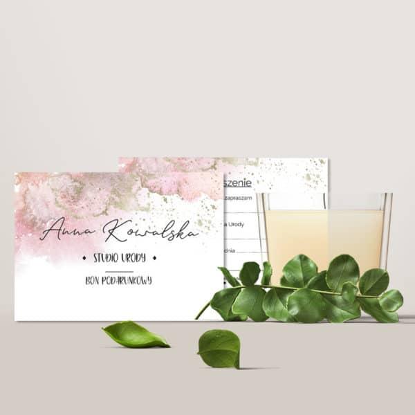różowy bon upominkowy do salonu urody