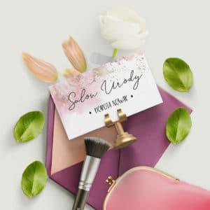 różowo pastelowa wizytówka dla kosmetologa