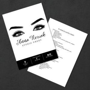 czarno-białą ulotka oczy kobiety do salonu kosmetycznego