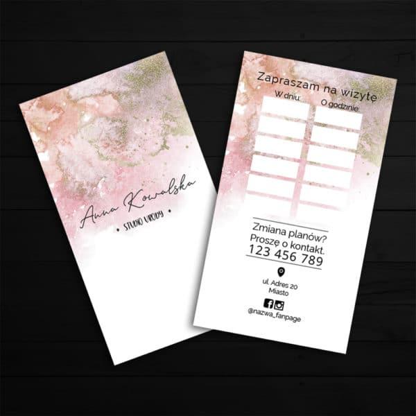 wizytówka z miejscem na wpisanie daty wizyty do salonu urody