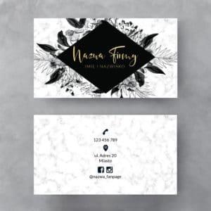 biały marmurek złota wizytówka czarne kwiaty