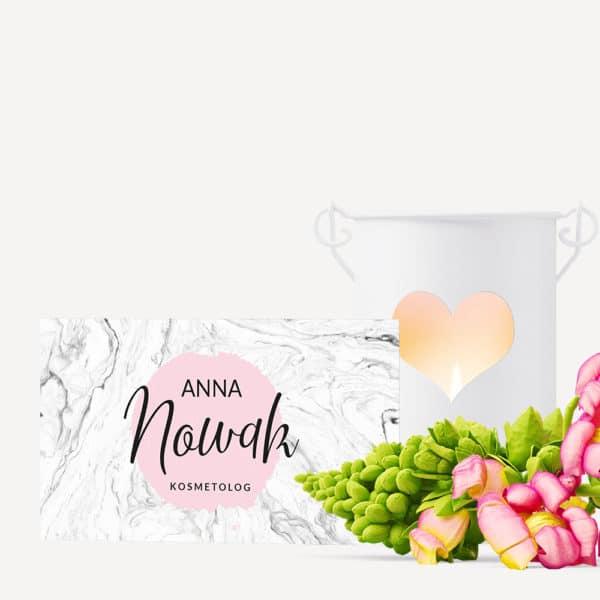 blado różowa wizytówka z białym marmurem do salonu kosmetycznego