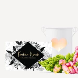 elegancka wizytówka czarne kwiaty do gabinetu kosmetycznego