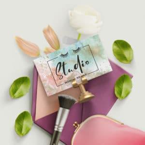 kolorowy marmurek wizytówka dla stylistki rzęs