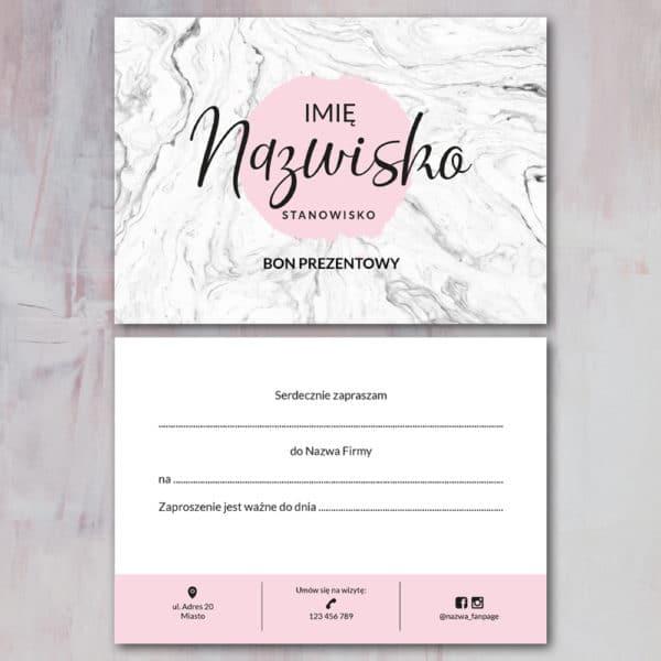 marmurkowy bon prezentowy pastelowo różowe logo