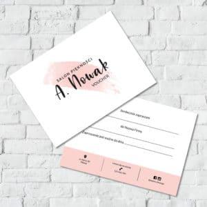 pastelowo różowa plama voucher prezentowy do studia urody