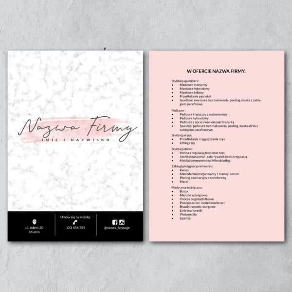 pastelowy różowy biały marmur ulotka