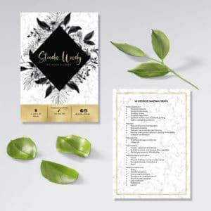 złota wizytówka do studia urody biały marmur czarne kwiaty