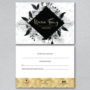 złoty bon upominkowy w czarne kwiaty