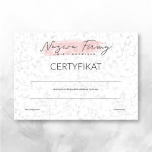 marmurkowe certyfikaty dla kosmetyczek