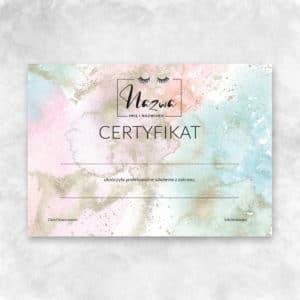 tęczowy certyfikat na szkolenia z przedłużania rzęs