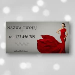 baner reklamowy do studia urody z kobieta w czerwonej sukience