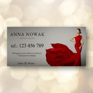 baner reklamowy z kobietą w czerwonej sukience do salonu urody