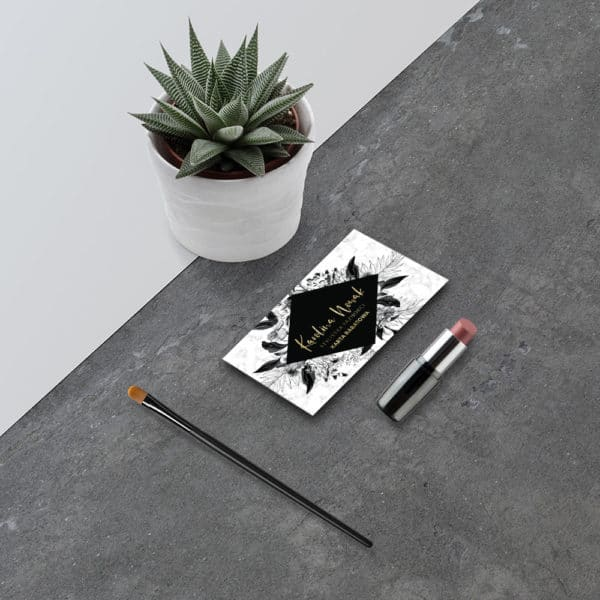karta rabatowa do studia urody marmur i czarne kwiaty