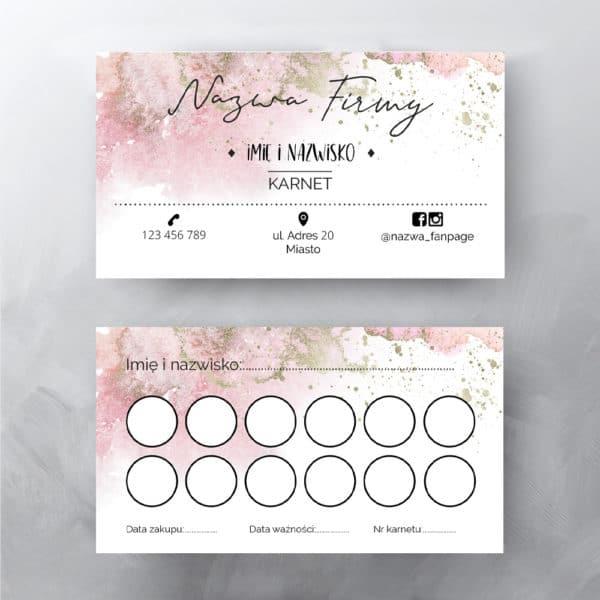 karta rabatowa z różowa abstrakcja do salonu urody