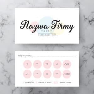 pastelowa karta rabatowa dla kosmetologa