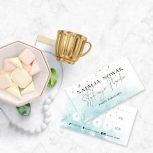 pastelowe karty rabatowe dla stylistki paznokci