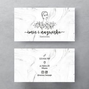 biały marmur wizytówka z twarzą kobiety do salonu urody