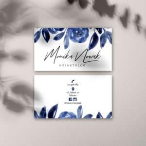botaniczne wizytówki do salonu urody z niebieskimi kwiatami