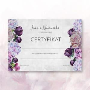 certyfikat z fioletowymi kwiatami