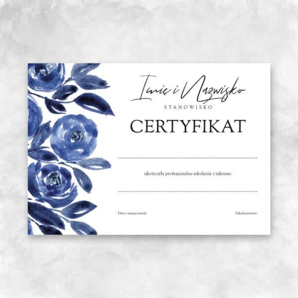 certyfikaty z niebieskimi kwiatami