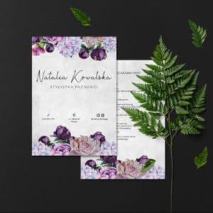 fioletowe kwiaty ulotka dla kosmetologa