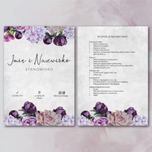 fioletowe kwiaty ulotka do salonu kosmetycznego