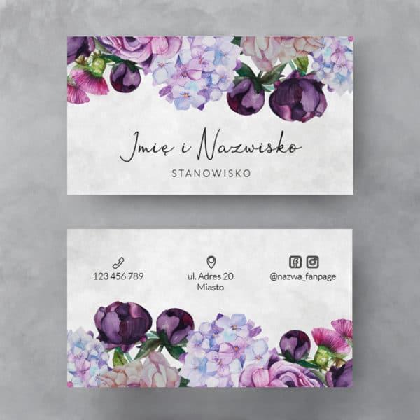fioletowe kwiaty wizytówka do salonu kosmetycznego